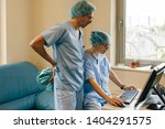 surgeons checking on the... | Shutterstock . vector #1404291575