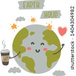 earth hour  earth hug drawing.... | Shutterstock .eps vector #1404304982