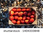 a box full of ripe strawberries ... | Shutterstock . vector #1404333848