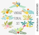 Stock vector vector set with vintage flowers 140433385