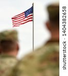 american soldiers and us flag....   Shutterstock . vector #1404382658