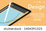 a tablet with a smart pen... | Shutterstock .eps vector #1404391325