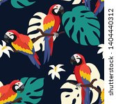 trendy pattern with parrots and ...   Shutterstock .eps vector #1404440312