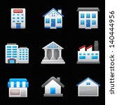 building icons and black... | Shutterstock .eps vector #140444956