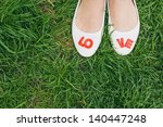 White Woman Shoes With Red Love ...