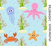 sea animals seamless background ...   Shutterstock .eps vector #140448766