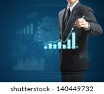 male hand drawing a graph | Shutterstock . vector #140449732