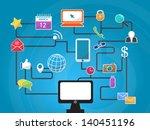 vector social network icons... | Shutterstock .eps vector #140451196