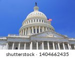 Stock photo national capitol building with us flag washington dc 1404662435
