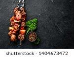shish kebab bbq meat with...