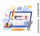 laptop with wrench tool  ruler... | Shutterstock .eps vector #1404685988