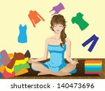 buying,cleaning,clothes,disassemble,dress,folding,girl,girl face,heap,orange,pants,posture,relaxation,rest,sits