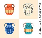 ancient vase icon set in flat...   Shutterstock .eps vector #1404755738