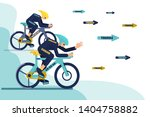 bicycle racers chasing words... | Shutterstock .eps vector #1404758882
