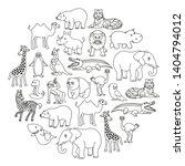 cartoon animals creatures set... | Shutterstock . vector #1404794012