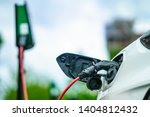 electric car is charging on...   Shutterstock . vector #1404812432