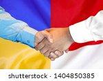 business handshake on the... | Shutterstock . vector #1404850385