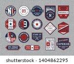 set of emblems on grey jeans... | Shutterstock .eps vector #1404862295