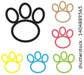 animal paw icon print line...   Shutterstock .eps vector #1404889565