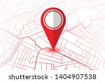 red pin showing location on gps ... | Shutterstock .eps vector #1404907538