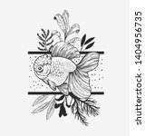 goldfish  plants and geometry....   Shutterstock .eps vector #1404956735