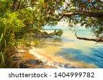Stock photo herrings cove beach herring bay titirangi auckland new zealand panoramic scenery 1404999782