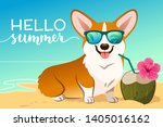 corgi dog wearing reflective... | Shutterstock .eps vector #1405016162