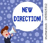text sign showing new direction.... | Shutterstock . vector #1405025312