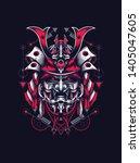 samurai mask helmet sacred... | Shutterstock .eps vector #1405047605