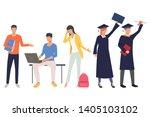 set of graduation students....   Shutterstock .eps vector #1405103102