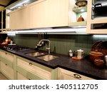 stylish kitchen interior design.... | Shutterstock . vector #1405112705