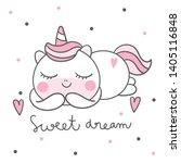 cute unicorn vector pony... | Shutterstock .eps vector #1405116848