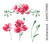 hand painted floral elements... | Shutterstock . vector #1405174985