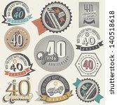 vintage style 40 anniversary... | Shutterstock .eps vector #140518618