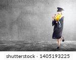 asian woman in mortarboard hat...   Shutterstock . vector #1405193225