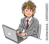 young business man operating a... | Shutterstock .eps vector #1405246052