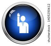 voting man icon. glossy button... | Shutterstock .eps vector #1405250612