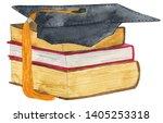watercolor books graduation...   Shutterstock . vector #1405253318