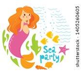 sea party vector cartoon style... | Shutterstock .eps vector #1405260605
