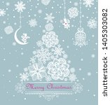 xmas pastel greeting with paper ... | Shutterstock .eps vector #1405303082