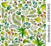 hand vector drawn floral ... | Shutterstock .eps vector #1405341842