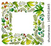 hand vector drawn floral ... | Shutterstock .eps vector #1405341845