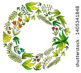 hand vector drawn floral ... | Shutterstock .eps vector #1405341848