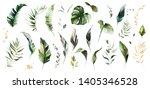 set watercolor leaves  ... | Shutterstock . vector #1405346528