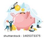 coins in piggy bank flat vector ... | Shutterstock .eps vector #1405373375
