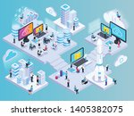 cloud services isometric... | Shutterstock .eps vector #1405382075