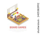 board games concept with family ... | Shutterstock .eps vector #1405383992