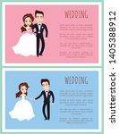 happy newlywed couple dancing... | Shutterstock .eps vector #1405388912