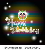 happy birthday card with cute... | Shutterstock .eps vector #140539342