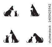 cat and dog vector silhouettes... | Shutterstock .eps vector #1405425542